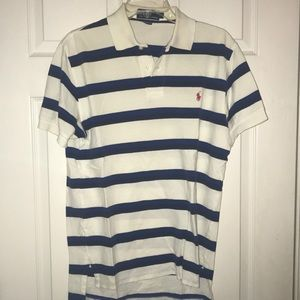 White polo By Ralph Lauren with blue stripes